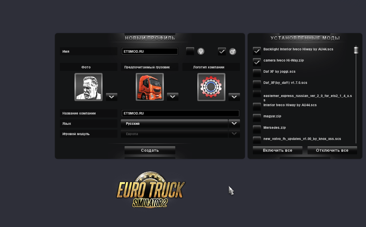 настройка профиля в Euro Truck Simulator 2